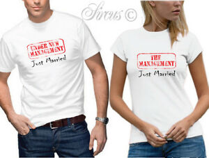 Just married t shirt set funny designer mens womens for Funny getting married shirts
