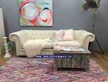 ++NEW++ GORGEOUS CREAM LINEN 3 SEAT CHESTERFIELD SOFA FROM ZANUI Sydney City Inner Sydney Preview