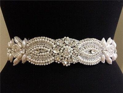 Bridal Crystal Pearl Applique Bridal Wedding Dress Belt Rhinestone Beaded Sash