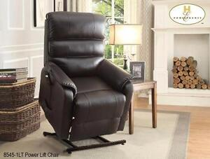 LIFT CHAIR IN A DARK BROWN ALL BONDED LEATHER MODEL 8545 $859.00 SAVE $390