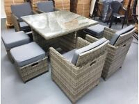 Grey ratten cube set x 4 chairs + 4 stools