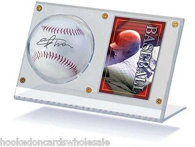 1 Acrylic Ball Baseball & and Card Holder Display Case - Ultra Pro Brand