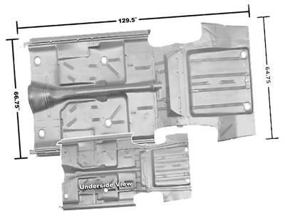 1966-67 Chevy II/Nova Floor & Trunk Pan Complete w/o Rocker Panels WTP New