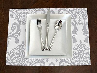 Set of 4 - Sweet Jojo Designs Grey & White Damask Elegant Placemats Table Topper