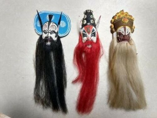 Vintage Miniature Chinese Opera Masks, Lot of 3