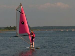 Windsurfer complete with sail