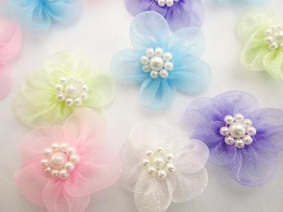 50 Organza Sheer Ribbon Bow Flower/pearl Bead/wedding/craft/carnation/sew F5-mix