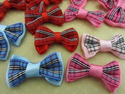 40 Double Layer Classic Plaid/satin Ribbon Bow/trim/craft/hair/sewing/dress F41