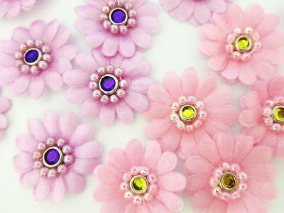 40 Pink & Purple Daisy Pearl Bead Rim Jewel Satin Flower 1