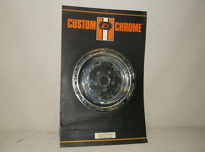 10 Chrome 8-Slotted Pulley Cover for 1980 & Up Big Twins with 61T Final Drive