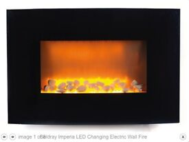 Brand-new sealed box 2KW wall mounted fire - flame and LED colour change - Beldray