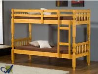 **7-DAY MONEY BACK GUARANTEE!**- Amazon Pine Solid Wooden Bunk Bed / Double bed with Mattresses