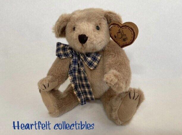 "TEDDY BEAR ""Heartfelt Collectibles"" Brown VINTAGE 90s Plush 12"" EXCELLENT! Cute!"