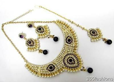 Collier Boucles Tikka en Or Pourpre Déclaration Glam Bollywood Mariage Indien
