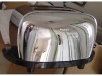 PHILIPS SILVER CHROME 2 SLICE TOASTER WITH ADJUSTABLE SETTINGS- GREAT CONDITION!