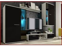 MODERN WALL UNIT ,* NEW*, HIGH QUALITY FURNITURE FLATPACK TV UNIT 2X CABINET WARDROBE, HANGING SHELF