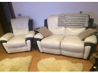 Real used fabric Leather SCS sofa & chair white black recliner comfyl
