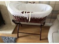 Clair de lune Moses basket white luxury stand unisex *ONLY £40!*