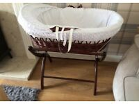 Clair de Lune white moses basket with luxury stand and mattress