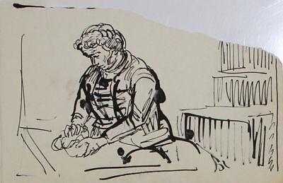 A.R. Penck - dessin unique à l'encre / Beim Brot backen