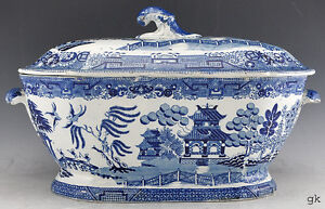 Antique-English-Traditional-Blue-White-Canton-Style-Soup-Tureen-1830s-50s