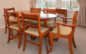 Extending Dining room Table and chairs, Side table and display cabinet in excellent condition.