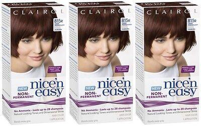 3 Clairol Nice n Easy Hair Dye (815R Deep Mahogany Brown) Lasts upto 24 Shampoos