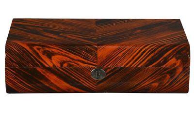 NEW Zebra Wood Finish Ten Watch Box Storage Chest Display -