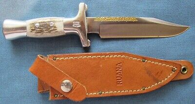 """Unused, """"Ruana 29A"""" Junior Bowie knife with leather sheath; 6 5/16"""" blade"""
