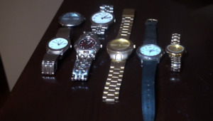 All Men's watches work fine with new batteries.$20.00 for all