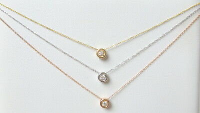 DIAMOND SOLITAIRE NECKLACE 14K YELLOW GOLD 0.07CT SI1 G COLOR 4 PRONG SETTING 4 Prong Solitaire Diamond Pendants