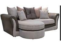 Grey Cord Olivia Corner Sofa and 2 seater