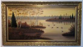Ducks in a Loch Original oil painting by Fischer