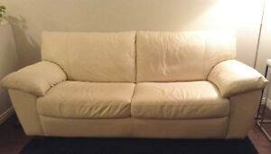 Cream Leather Couch
