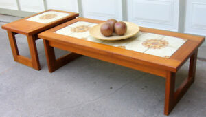 TODAY $250 -1970S TEAK COFFEE TABLE & SIDE TABLE - GRT. COND.
