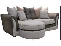 Grey Cord Olivia Corner Sofa and 2 seater