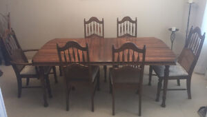 6 Chair Wood Dining Set with Matching Hutch