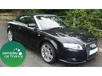 £204.63 PER MONTH BLACK 2008 AUDI A4 2.0 S LINE CONVERTIBLE PETROL AUTOMATIC