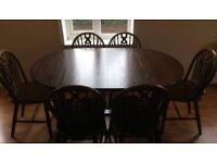 Extendable dark oval table & 6 chairs