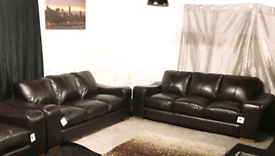 ° Dfs new ex display brown real leather 3+3 seater sofas