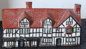 Handmade Ceramic W.Shakespeare's birth house in Stratford, UK