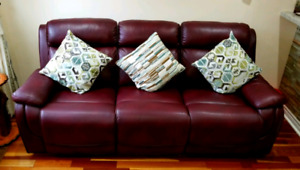 Air Leather Reclining Power Sofa - Great Condition