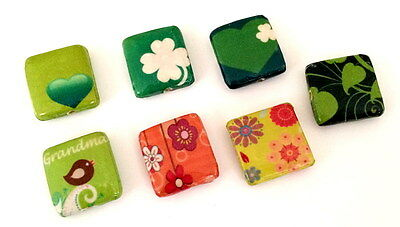 Decoupage Wood Bead Heart Bird Flower Garden Pattern Square 20 x20mm 7pcs