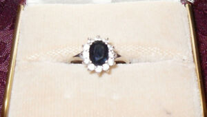 "Lady Diana Ring (Silver band .925 ) Center stone ""Sapphire"" (8)"