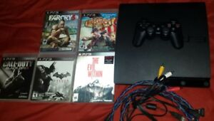 Ps3 250gb 1 controller,5 games and over 20 hd movies. Excellent