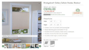 New Cellular Blind Window shade (Blackout) - 59 x 67.5