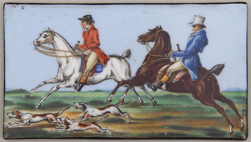 Antique 19th c. English Porcelain Plaque Tile Worcester Equestrian Horse Hunt