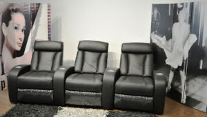 3-Seat  Leather Power Recliner Home Theatre Seating  - Black
