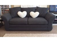 Two seater charcoal grey sofa