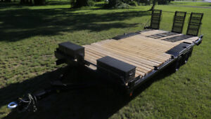 17ft flatbed trailer with ramps, winch, heavy duty
